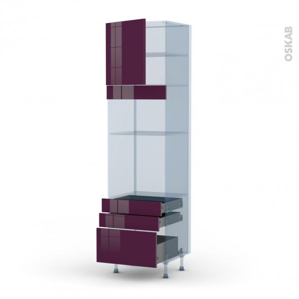 KERIA Aubergine - Kit Rénovation 18 - Colonne Four+MO 36/38 N°1659  - 1 porte 3 tiroirs - L60xH217xP60