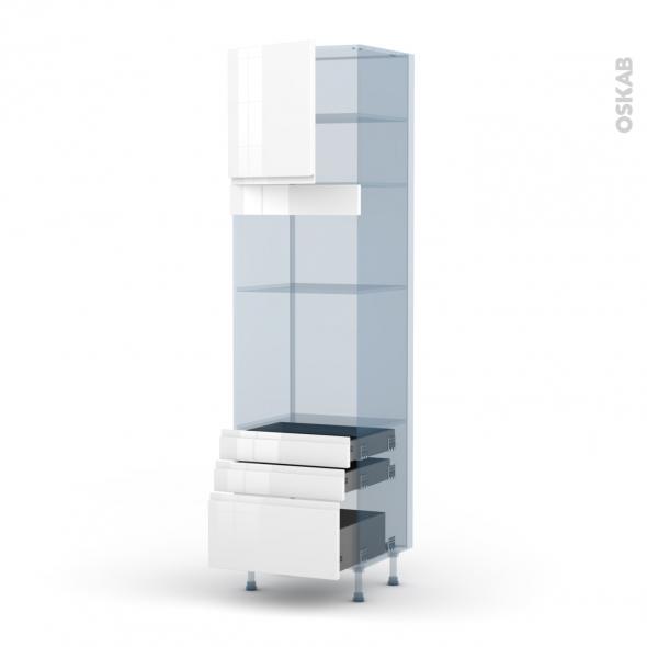IPOMA Blanc - Kit Rénovation 18 - Colonne Four+MO 36/38 N°1659  - 1 porte 3 tiroirs - L60xH217xP60