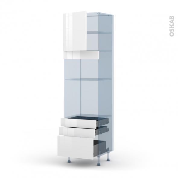 STECIA Blanc - Kit Rénovation 18 - Colonne Four+MO 36/38 N°1659  - 1 porte 3 tiroirs - L60xH217xP60