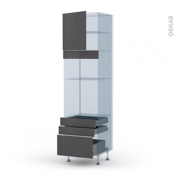 GINKO Gris - Kit Rénovation 18 - Colonne Four+MO 36/38 N°1659  - 1 porte 3 tiroirs - L60xH217xP60