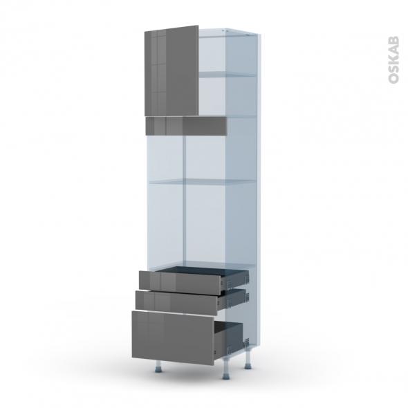 STECIA Gris - Kit Rénovation 18 - Colonne Four+MO 36/38 N°1659  - 1 porte 3 tiroirs - L60xH217xP60