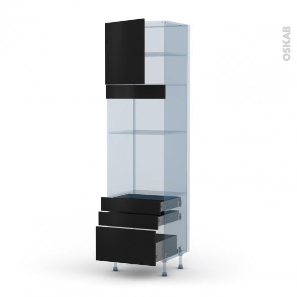 GINKO Noir - Kit Rénovation 18 - Colonne Four+MO 36/38 N°1659  - 1 porte 3 tiroirs - L60xH217xP60