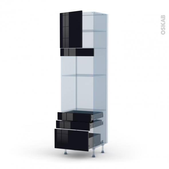 KERIA Noir - Kit Rénovation 18 - Colonne Four+MO 36/38 N°1659  - 1 porte 3 tiroirs - L60xH217xP60