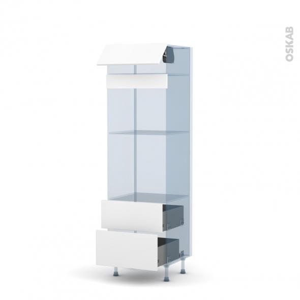 GINKO Blanc - Kit Rénovation 18 - Colonne Four+MO 45 N°558 - 1 abattant 2 casseroliers - L60xH195xP60