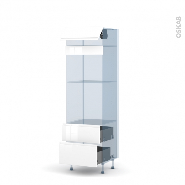 IPOMA Blanc - Kit Rénovation 18 - Colonne Four+MO 45 N°558  - 1 abattant 2 casseroliers - L60xH195xP60
