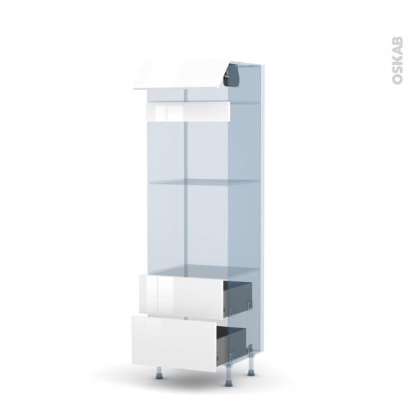 STECIA Blanc - Kit Rénovation 18 - Colonne Four+MO 45 N°558  - 1 abattant 2 casseroliers - L60xH195xP60