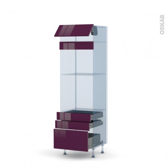 KERIA Aubergine - Kit Rénovation 18 - Colonne Four+MO 45 N°559  - 1 abattant 3 tiroirs - L60xH195xP60
