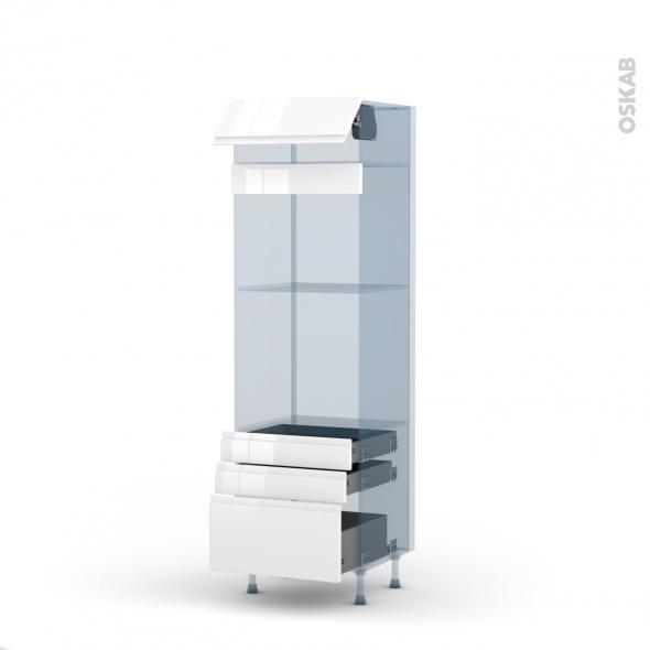 IPOMA Blanc - Kit Rénovation 18 - Colonne Four+MO 45 N°559  - 1 abattant 3 tiroirs - L60xH195xP60