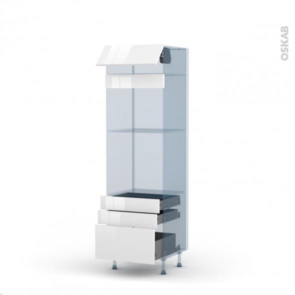 STECIA Blanc - Kit Rénovation 18 - Colonne Four+MO 45 N°559  - 1 abattant 3 tiroirs - L60xH195xP60