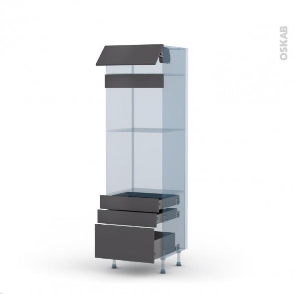 GINKO Gris - Kit Rénovation 18 - Colonne Four+MO 45 N°559  - 1 abattant 3 tiroirs - L60xH195xP60