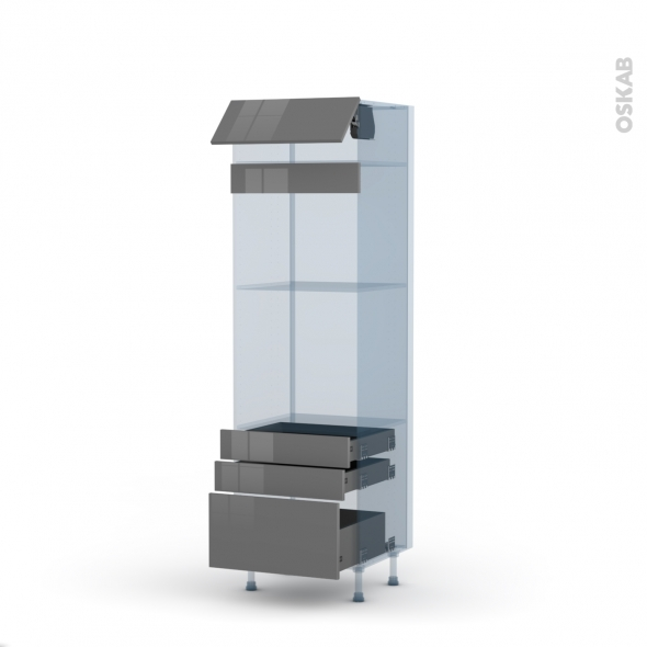 STECIA Gris - Kit Rénovation 18 - Colonne Four+MO 45 N°559  - 1 abattant 3 tiroirs - L60xH195xP60