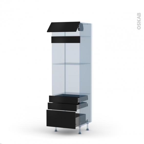 GINKO Noir - Kit Rénovation 18 - Colonne Four+MO 45 N°559  - 1 abattant 3 tiroirs - L60xH195xP60