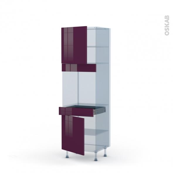 KERIA Aubergine - Kit Rénovation 18 - Colonne Four N°1616  - 2 portes 1 tiroir - L60xH195xP60