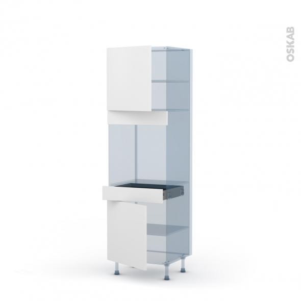 GINKO Blanc - Kit Rénovation 18 - Colonne Four N°1616 - 2 portes 1 tiroir - L60xH195xP60