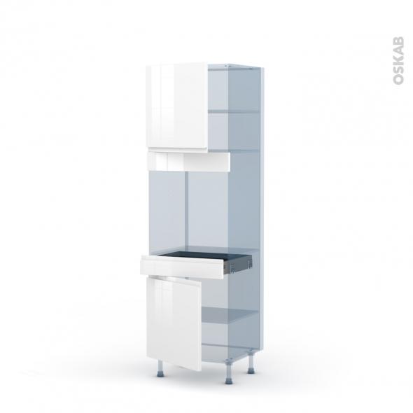 IPOMA Blanc - Kit Rénovation 18 - Colonne Four N°1616  - 2 portes 1 tiroir - L60xH195xP60