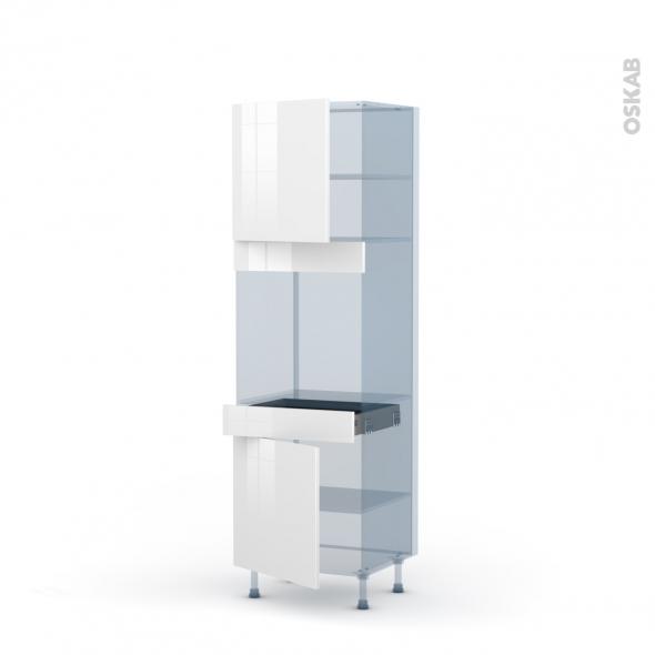 STECIA Blanc - Kit Rénovation 18 - Colonne Four N°1616  - 2 portes 1 tiroir - L60xH195xP60