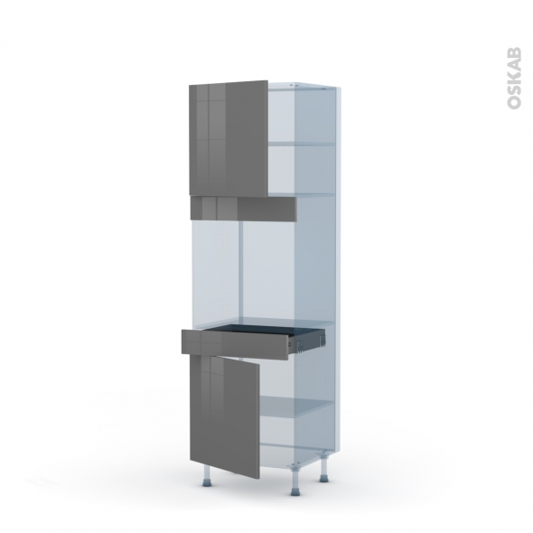 STECIA Gris - Kit Rénovation 18 - Colonne Four N°1616  - 2 portes 1 tiroir - L60xH195xP60