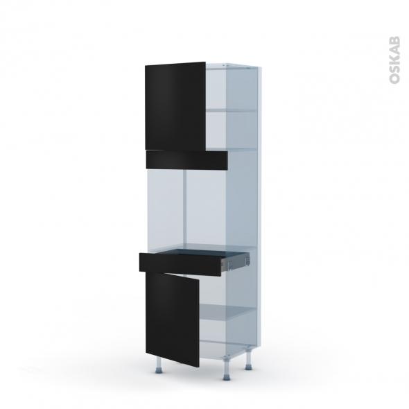 GINKO Noir - Kit Rénovation 18 - Colonne Four N°1616  - 2 portes 1 tiroir - L60xH195xP60