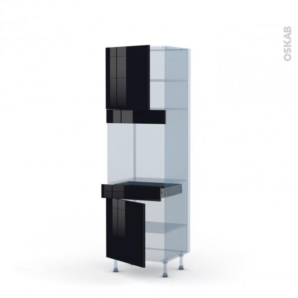 KERIA Noir - Kit Rénovation 18 - Colonne Four N°1616  - 2 portes 1 tiroir - L60xH195xP60