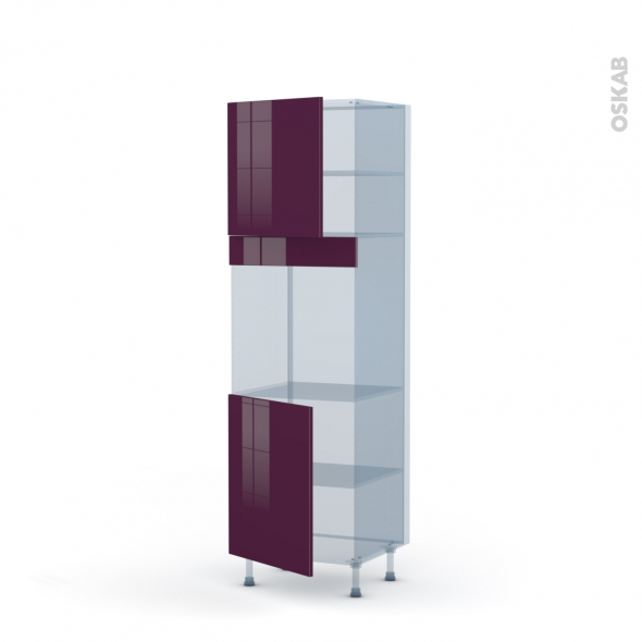 KERIA Aubergine - Kit Rénovation 18 - Colonne Four N°1621  - 2 portes - L60xH195xP60