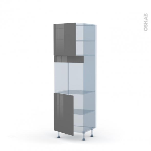 STECIA Gris - Kit Rénovation 18 - Colonne Four N°1621  - 2 portes - L60xH195xP60