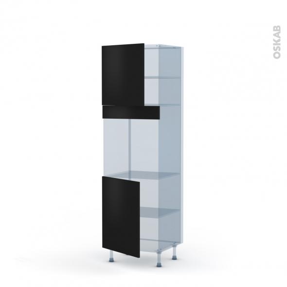 GINKO Noir - Kit Rénovation 18 - Colonne Four N°1621  - 2 portes - L60xH195xP60