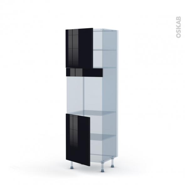 KERIA Noir - Kit Rénovation 18 - Colonne Four N°1621  - 2 portes - L60xH195xP60