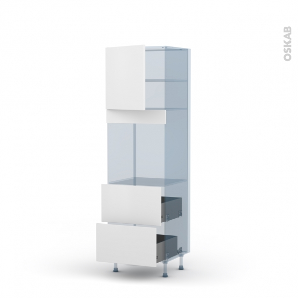 GINKO Blanc - Kit Rénovation 18 - Colonne Four N°1657 - 1 porte 2 casseroliers - L60xH195xP60