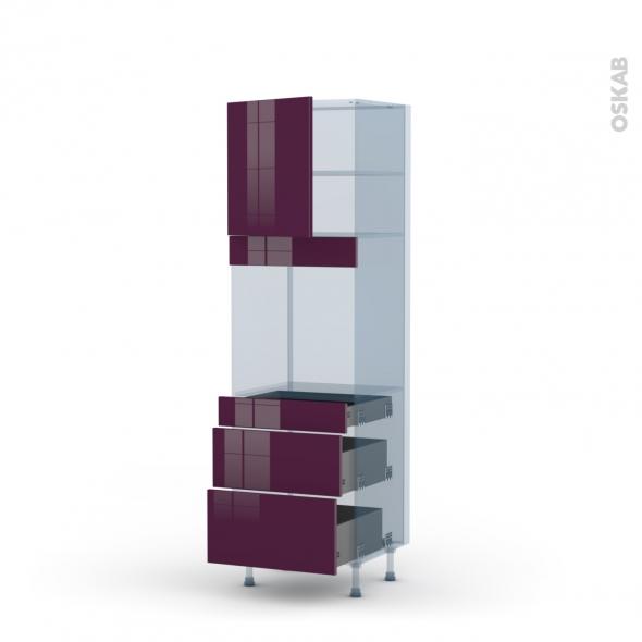 KERIA Aubergine - Kit Rénovation 18 - Colonne Four N°1658  - 1 porte 3 tiroirs - L60xH195xP60