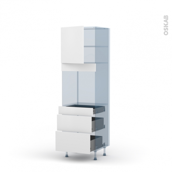 GINKO Blanc - Kit Rénovation 18 - Colonne Four N°1658 - 1 porte 3 tiroirs - L60xH195xP60