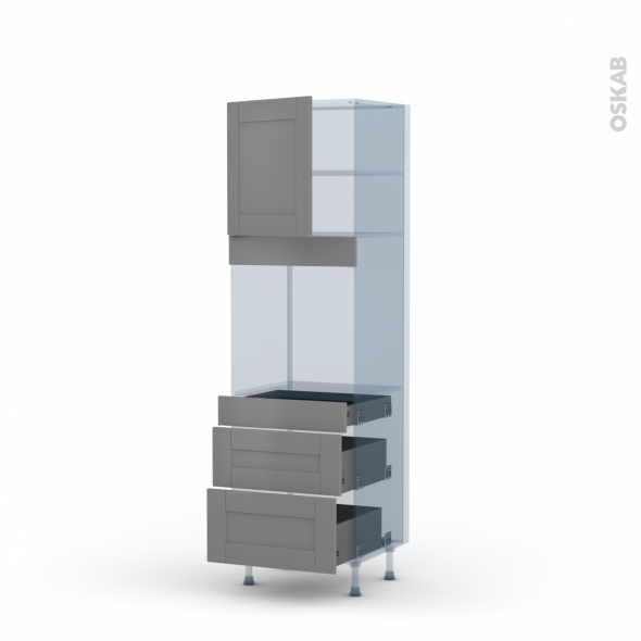 FILIPEN Gris - Kit Rénovation 18 - Colonne Four N°1658  - 1 porte 3 tiroirs - L60xH195xP60