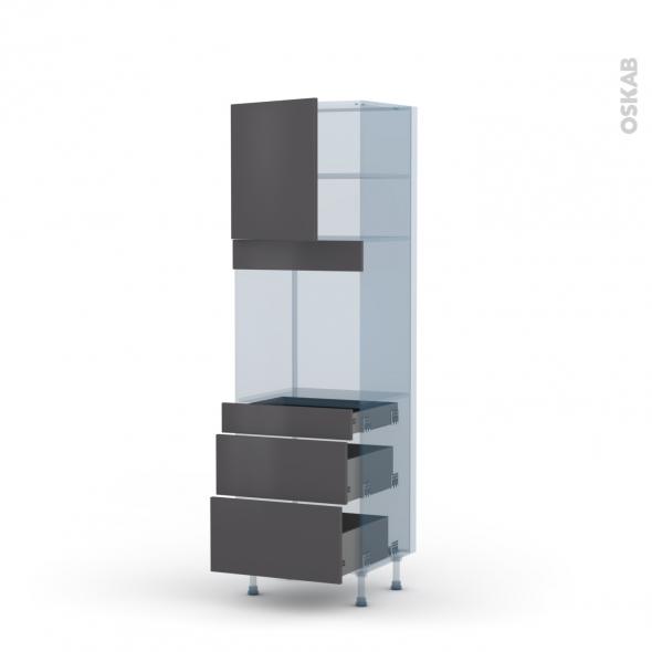 GINKO Gris - Kit Rénovation 18 - Colonne Four N°1658  - 1 porte 3 tiroirs - L60xH195xP60