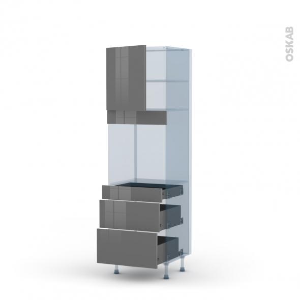 STECIA Gris - Kit Rénovation 18 - Colonne Four N°1658  - 1 porte 3 tiroirs - L60xH195xP60