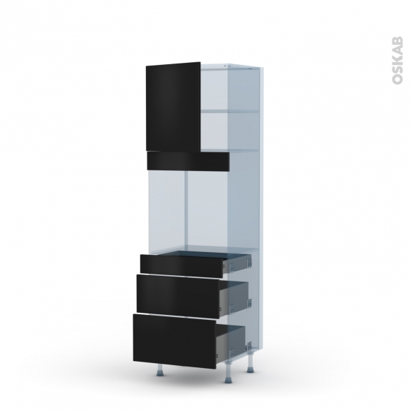 GINKO Noir - Kit Rénovation 18 - Colonne Four N°1658  - 1 porte 3 tiroirs - L60xH195xP60
