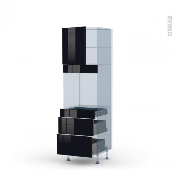KERIA Noir - Kit Rénovation 18 - Colonne Four N°1658  - 1 porte 3 tiroirs - L60xH195xP60