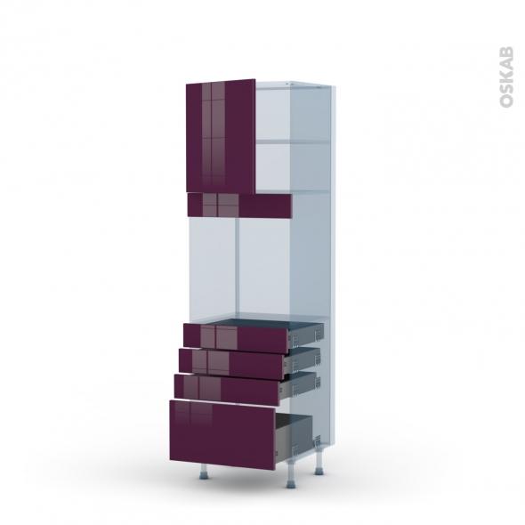 KERIA Aubergine - Kit Rénovation 18 - Colonne Four N°1659  - 1 porte 4 tiroirs - L60xH195xP60