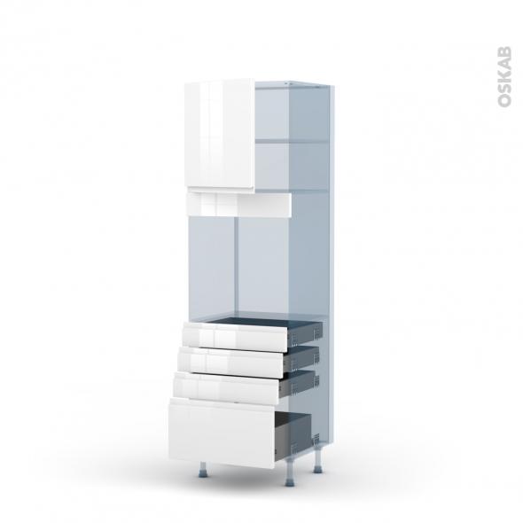 IPOMA Blanc - Kit Rénovation 18 - Colonne Four N°1659  - 1 porte 4 tiroirs - L60xH195xP60