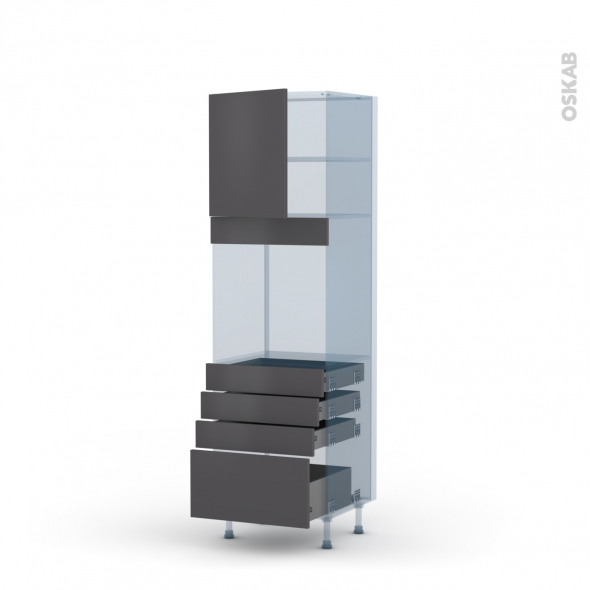 GINKO Gris - Kit Rénovation 18 - Colonne Four N°1659  - 1 porte 4 tiroirs - L60xH195xP60