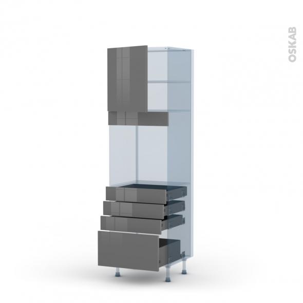 STECIA Gris - Kit Rénovation 18 - Colonne Four N°1659  - 1 porte 4 tiroirs - L60xH195xP60