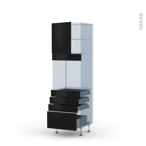 GINKO Noir - Kit Rénovation 18 - Colonne Four N°1659  - 1 porte 4 tiroirs - L60xH195xP60