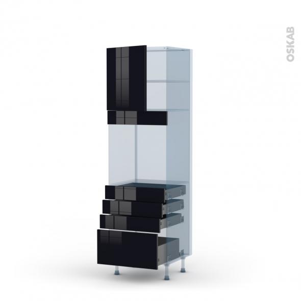 KERIA Noir - Kit Rénovation 18 - Colonne Four N°1659  - 1 porte 4 tiroirs - L60xH195xP60
