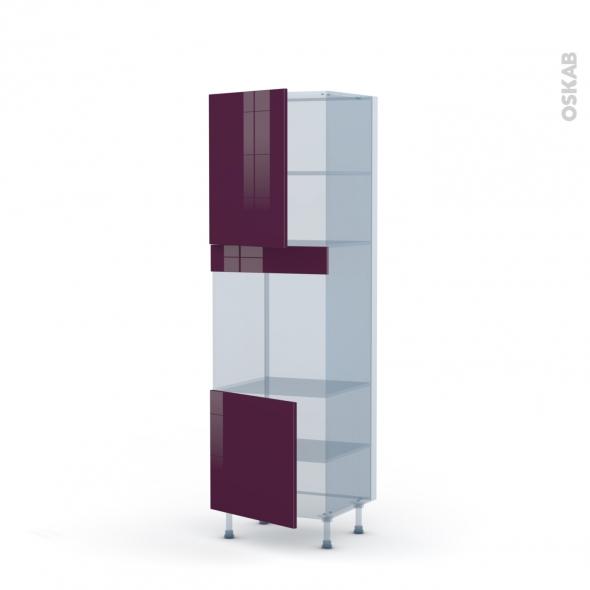 KERIA Aubergine - Kit Rénovation 18 - Colonne Four niche 60 N°2116 - 2 portes - L60xH195xP60