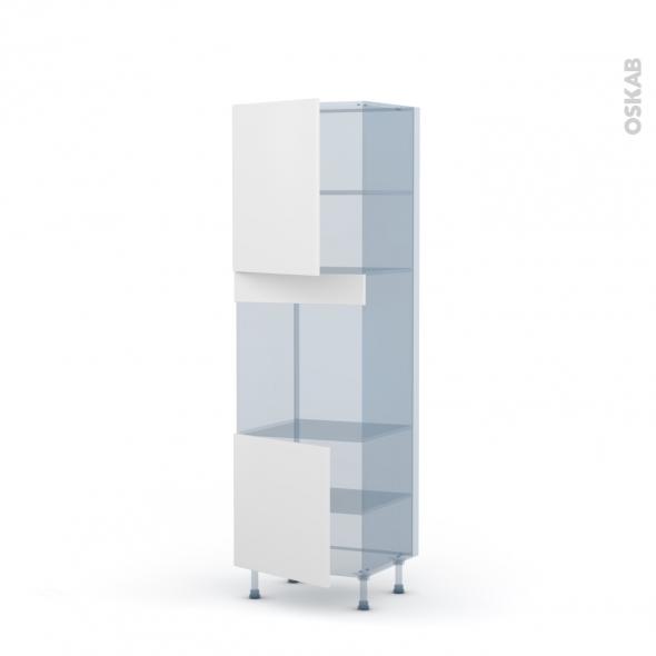 GINKO Blanc - Kit Rénovation 18 - Colonne Four niche 60 N°2116 - 2 portes - L60xH195xP60