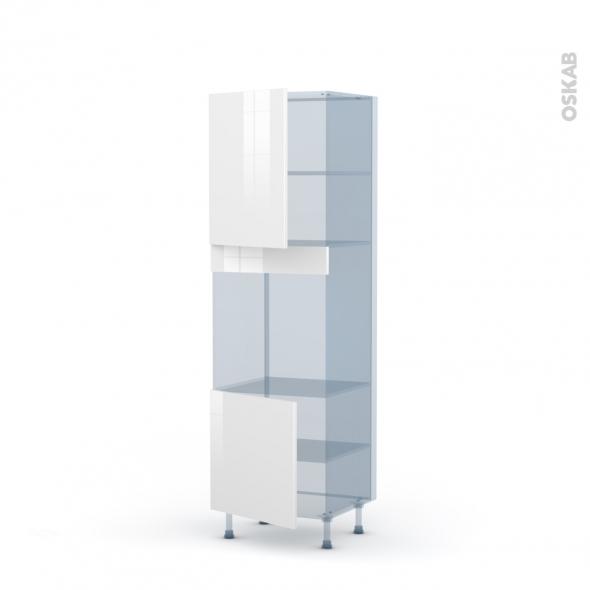 STECIA Blanc - Kit Rénovation 18 - Colonne Four niche 60 N°2116  - 2 portes - L60xH195xP60