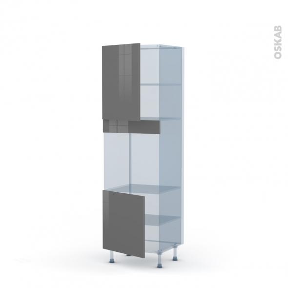 STECIA Gris - Kit Rénovation 18 - Colonne Four niche 60 N°2116 - 2 portes - L60xH195xP60