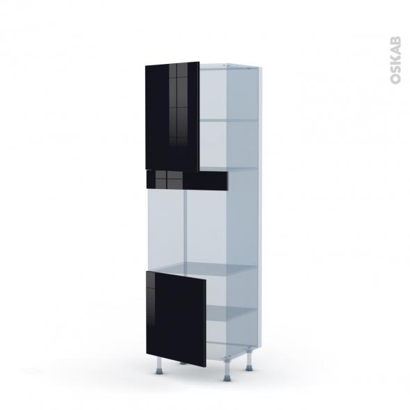 KERIA Noir - Kit Rénovation 18 - Colonne Four niche 60 N°2116 - 2 portes - L60xH195xP60