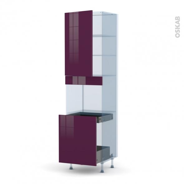 KERIA Aubergine - Kit Rénovation 18 - Colonne Four N°2416 - 1 porte -1 porte coulissante - L60xH217xP60