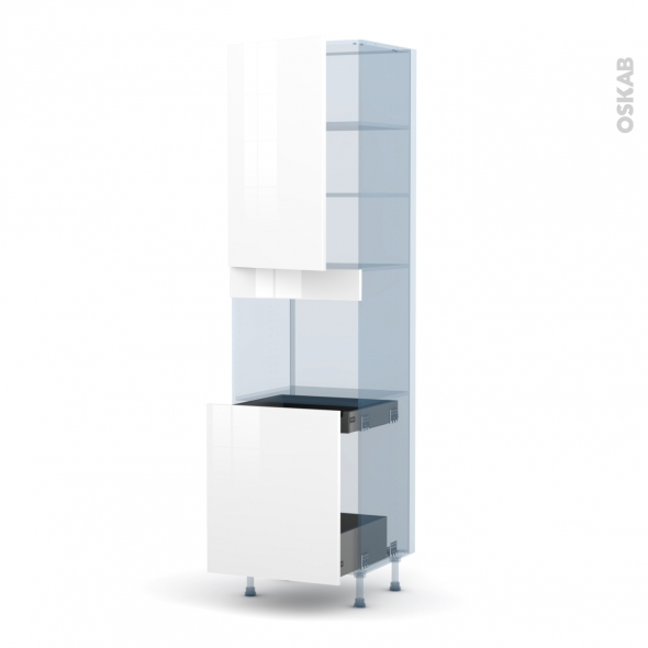 STECIA Blanc - Kit Rénovation 18 - Colonne Four N°2416 - 1 porte -1 porte coulissante - L60xH217xP60