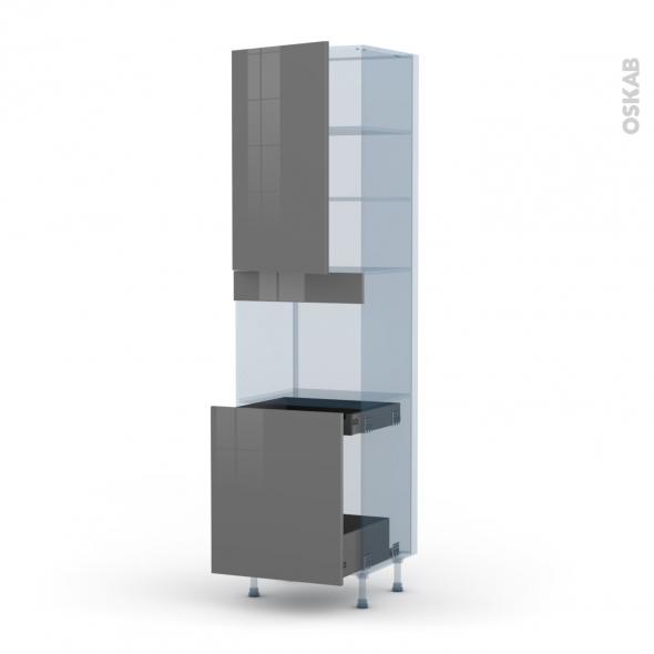 STECIA Gris - Kit Rénovation 18 - Colonne Four N°2416 - 1 porte -1 porte coulissante - L60xH217xP60