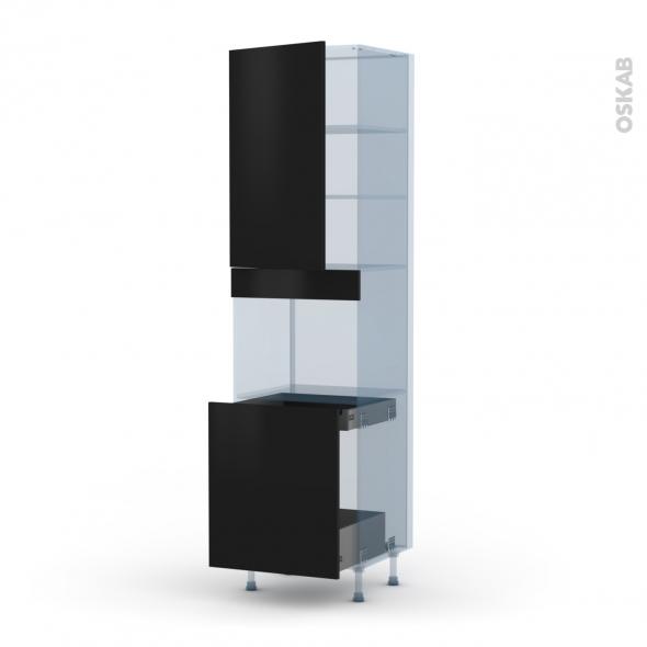 GINKO Noir - Kit Rénovation 18 - Colonne Four N°2416 - 1 porte -1 porte coulissante - L60xH217xP60